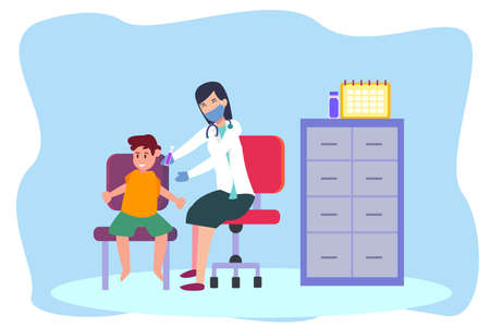 Corona virus vaccine vector concept: Female doctor injects little boy vaccine of corona virus while sitting in the clinic