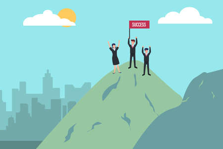 Success vector concept: Three business people expressing their success on the mountain peak with success flag
