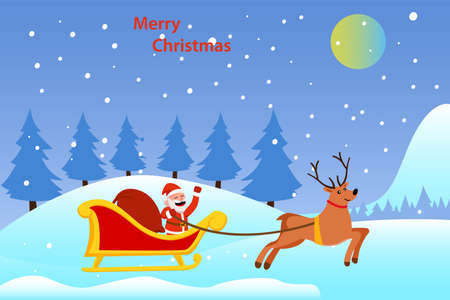 Christmas day vector concept: Santa claus rides on the sleigh with reindeer while carrying a sack of presents 向量圖像