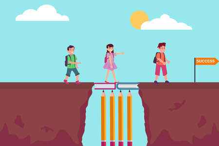 Education vector concept: Students walking on the bridge of books together towards success word