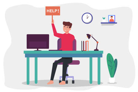 Education vector concept: University student need help to do homework at home while sitting in front of computer