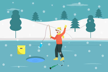 Winter vector concept: Happy teenage boy catching a fish while fishing alone on the frozen lake at winter time