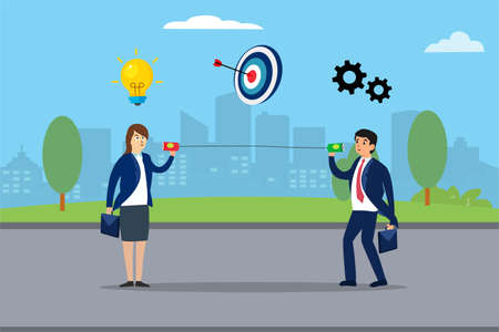 Business communication vector concept: Two business people talking about idea, target, and management through line communication