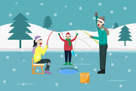Winter vector concept: Cheerful family fishing together on the frozen lake in inter time