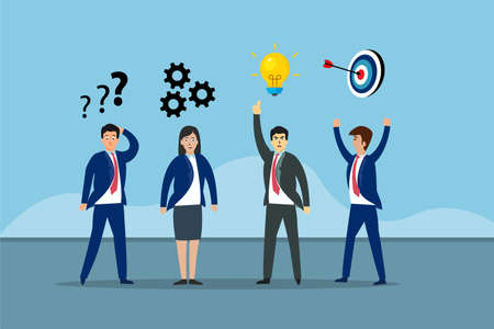 Business vector concept: Young businesspeople standing with their different idea Ilustração