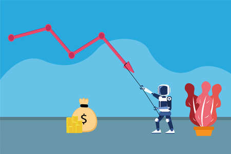 Artificial intelligence robot vector concept: Robot pulling down cost reduction graph