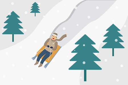 Winter vector concept: Happy young man riding a sledding and sliding on the snow hill in winter time