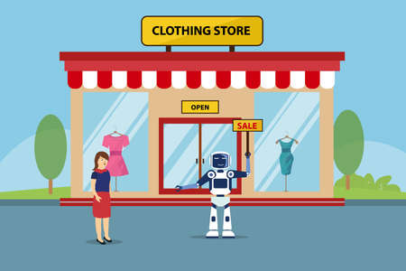 Artificial intelligence robot vector concept: Robot replace human to work as a shopkeeper in clothing store