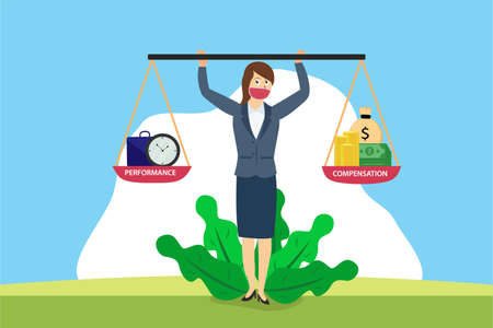 Compensation vector concept: Businesswoman holding scales between a clock with performance text and money with compensation text Vetores