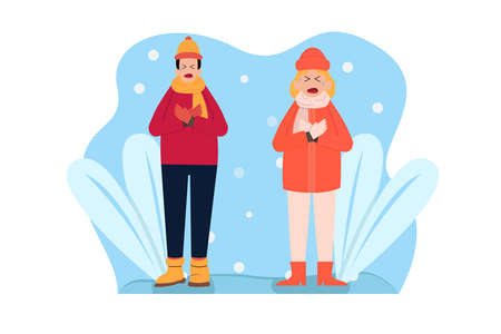 Winter vector concept: Young couple wearing warm clothes in winter season while feeling cold together