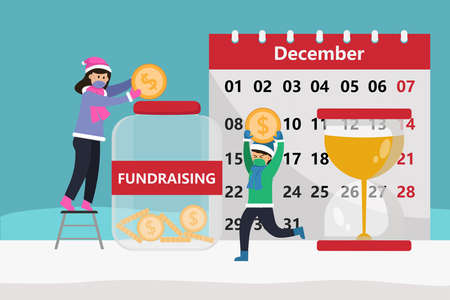 Fundraising vector concept: Young mother and her son saving money together for fundraising with calendar and hourglass Illustration