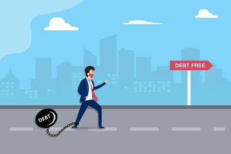 Debt Free vector concept: Businessman in face mask tied by a burden with debt text and walking toward debt free signpost Vecteurs