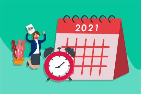 Debt Free vector concept: Businesswoman in face mask holding Debt Free text with alarm clock and calendar of 2021 year