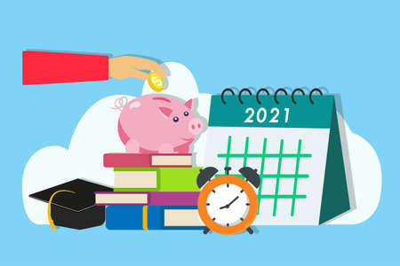 Financial management vector concept: Hands saving money in piggy bank on the stack of books with graduation cap and calendar of 2021 background  イラスト・ベクター素材