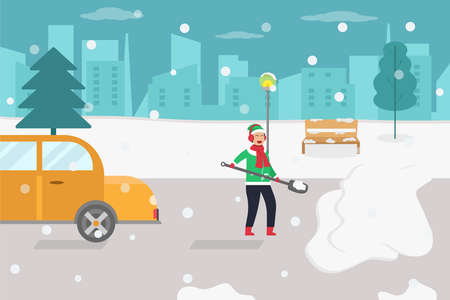 Cleaning snow vector concept: Young man cleaning snow on the road while using shovel Illustration