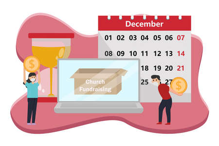 Fundraising vector concept: Young man and woman collecting online church fundraising with calendar and hourglass Illustration