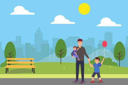 Single parent vector concept: Young father and his two little boys walking in the park together while enjoying leisure time