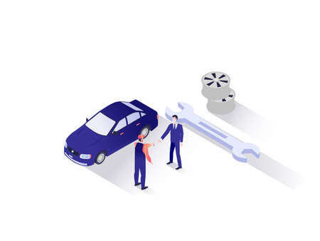 Car repair service isometric vector concept: Mechanic handing the key to the car owner after a maintenance work