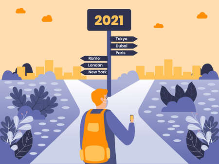 New Year Travel vector concept: Man in face mask carrying backpack for traveling while looking at the signpost with famous city destination and number 2021