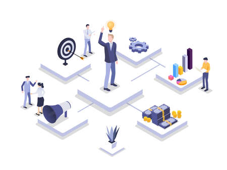 Business Idea vector concept: Isometric businessman with idea and his team working together