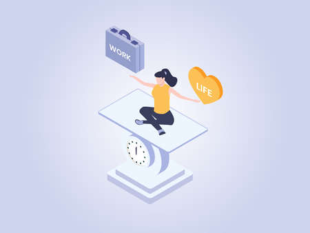 Work and life vector concept: Woman meditating on a scale balancing work and life Çizim