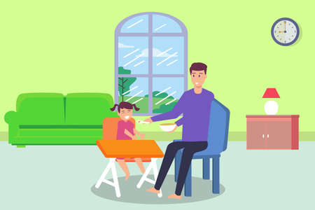 Single parent vector concept: Young father feeding food to his daughter while sitting on the chair