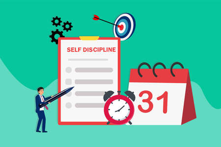 Self discipline vector concept: Businessman writing self discipline list plan on the clipboard with alarm clock and calendar background Vektorové ilustrace