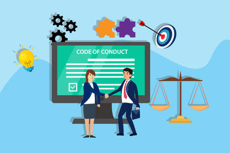 Code of conduct vector concept: Businessman and businesswoman shaking hands with code of conduct background on the computer monitor Ilustración de vector