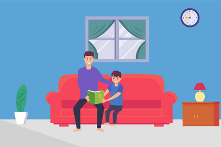Fatherhood vector concept: Young father and little boy reading the book together on the sofa while enjoying leisure time Ilustração