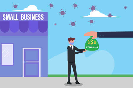 Stimulus vector concept: Businessman wearing face mask and receiving stimulus money bag with small business store background and coronavirus outbreak