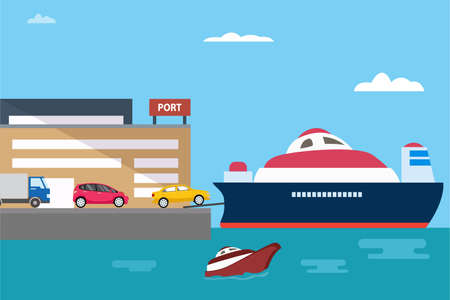 Port vector concept: Cars in queuing to enter the cruise ship