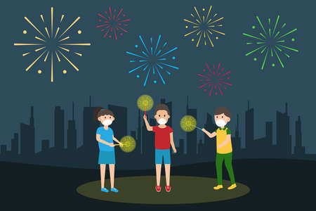New normal vector concept: Group of children celebrate new year while playing firework together