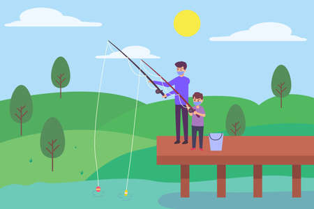 New normal vector concept: Young father and little boy fishing together in the lake while wearing face mask Ilustração