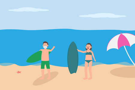 New Normal vector concept: Young couple wearing face mask while holding surfboard and wearing swimwear on beach during new normal life after coronavirus pandemic