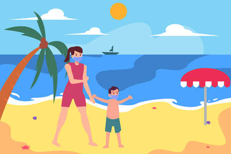 New normal vector concept: Young mother and her son enjoying holiday in the beach while wearing face mask