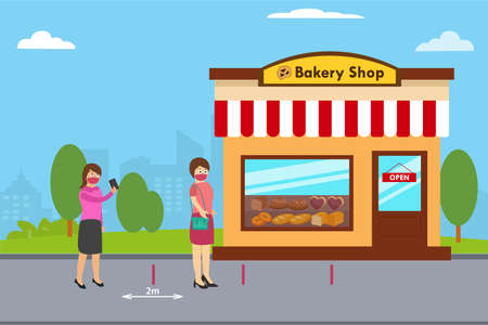 Social distancing vector concept: Two young women keep social distancing in bakery shop while wearing face mask