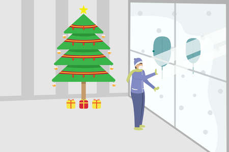 Christmas vector concept: Woman wearing face mask and looking out through the window with christmas tree background at home during coronavirus pandemic