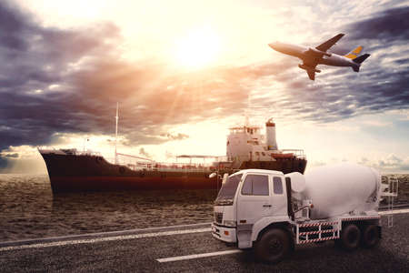 Image of three various types of vehicles transportation with dawn sky background