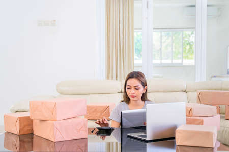 Side view of female online seller working with calculator, laptop, clipboard and, boxes in the living room at home. Small Medium Enterprise or Startup concept 스톡 콘텐츠