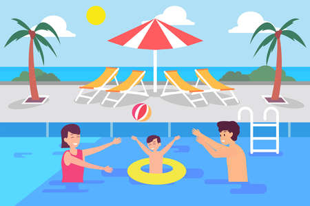 Leisure time vector concept: Little son and young parents swimming together in the pool while enjoying quality time