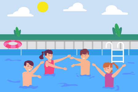 Leisure time vector concept: Group of children playing in the pool together while enjoying leisure time