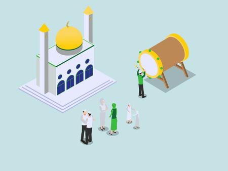 Eid al-fitr celebration at mosque isometric 3d vector concept for banner, website, illustration, landing page, flyer, etc.