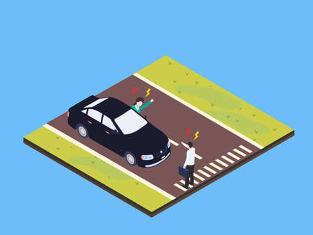 Driver fights with pedestrian 3D isometric vector concept for banner, website, illustration, landing page, flyer, etc