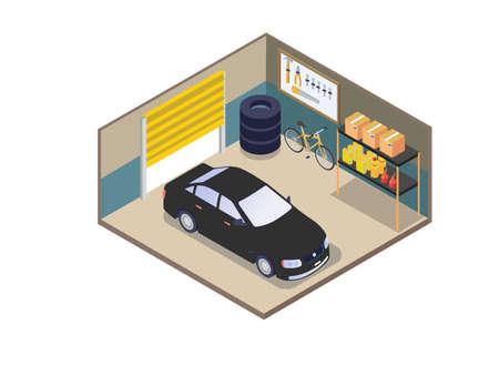Home garage isometric 3d vector concept for banner, website, illustration, landing page, flyer, etc.