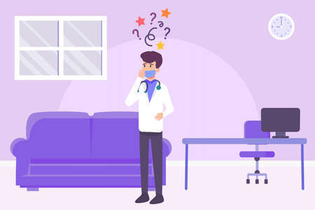 Finding solution vector concept: Male doctor feeling confused while standing in his room with question mark and doodle