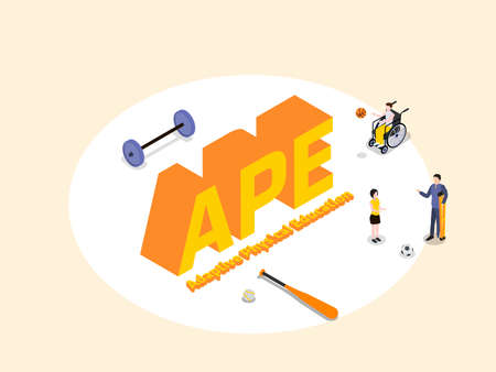 Adaptive Physical Education APE 3D isometric vector concept for banner, website, illustration, landing page, flyer, etc