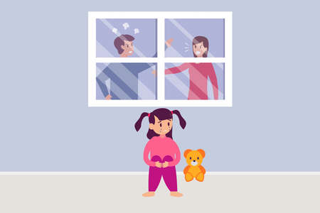 Married problem vector concept: Little girl feeling sad while looking her parents fighting at home