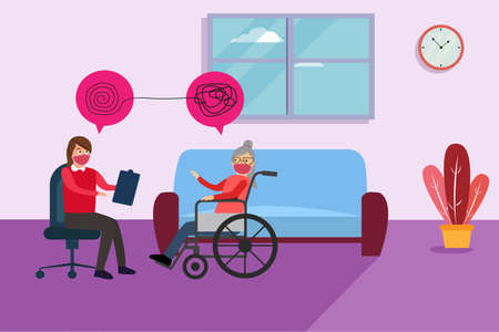 Psychology vector concept: Female psychiatry doing psychology treatment to old woman while sitting on the wheelchair