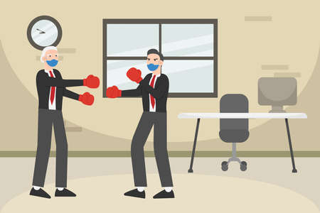 Business competition vector concept: Young businessman and old man fighting while wearing boxing gloves and face mask 矢量图片