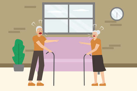 Problem family vector concept: Senior couple arguing at home while shouting each other